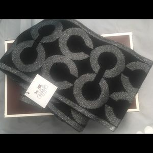 Coach black and silver scarf with CC design.
